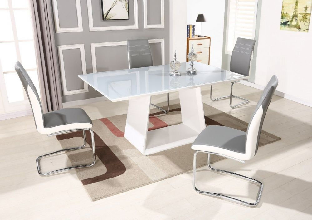GA Italia Gloss 160 cm Grey & White Dining Table & Grey / Black 4 6 8 Chairs
